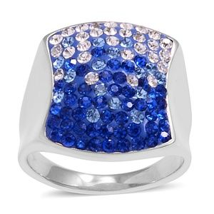 Blue & White Austrian Crystal Ring Size 11